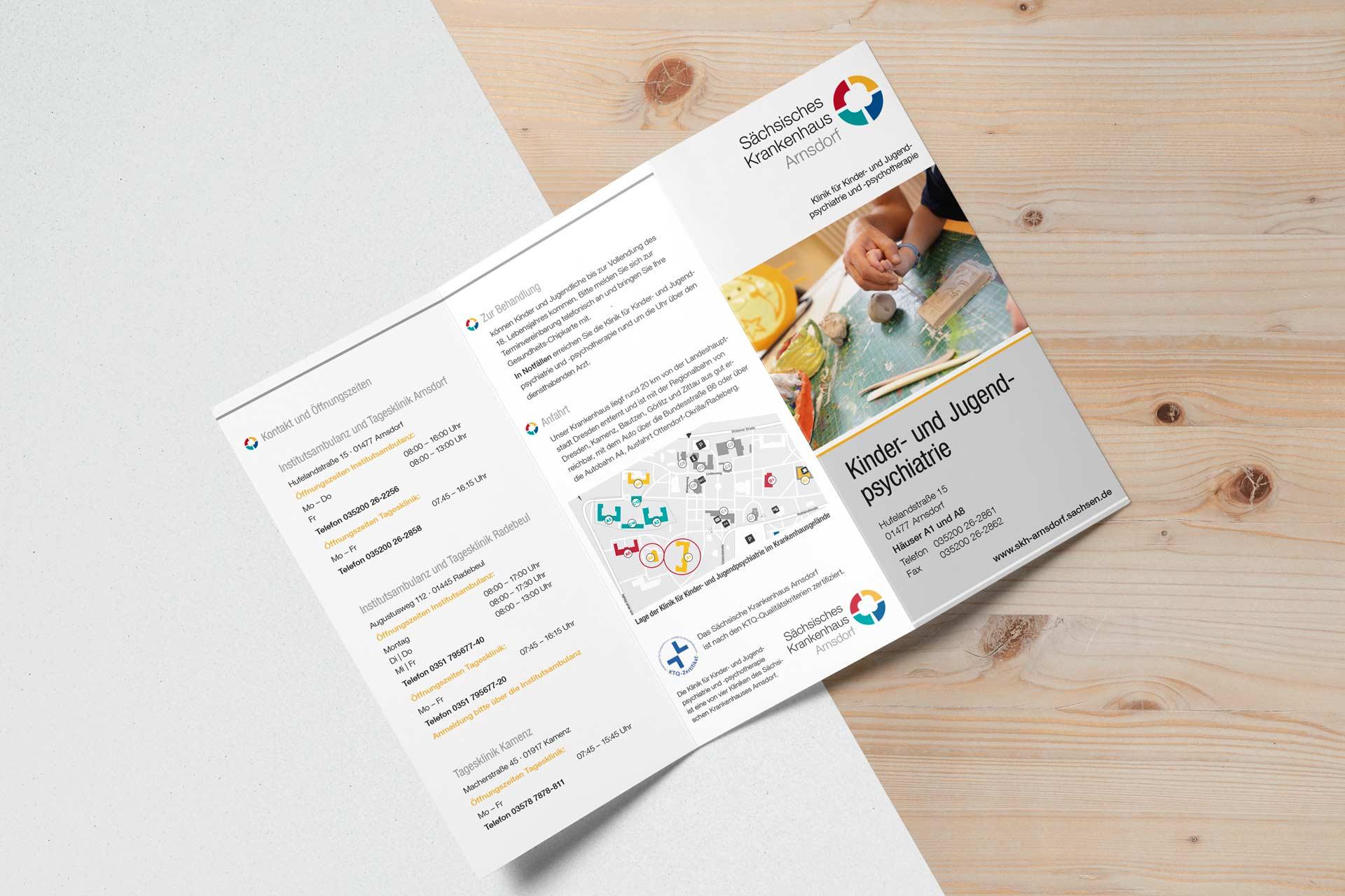 Gestaltung Flyer Kinder- und Jugendpsychiatrie