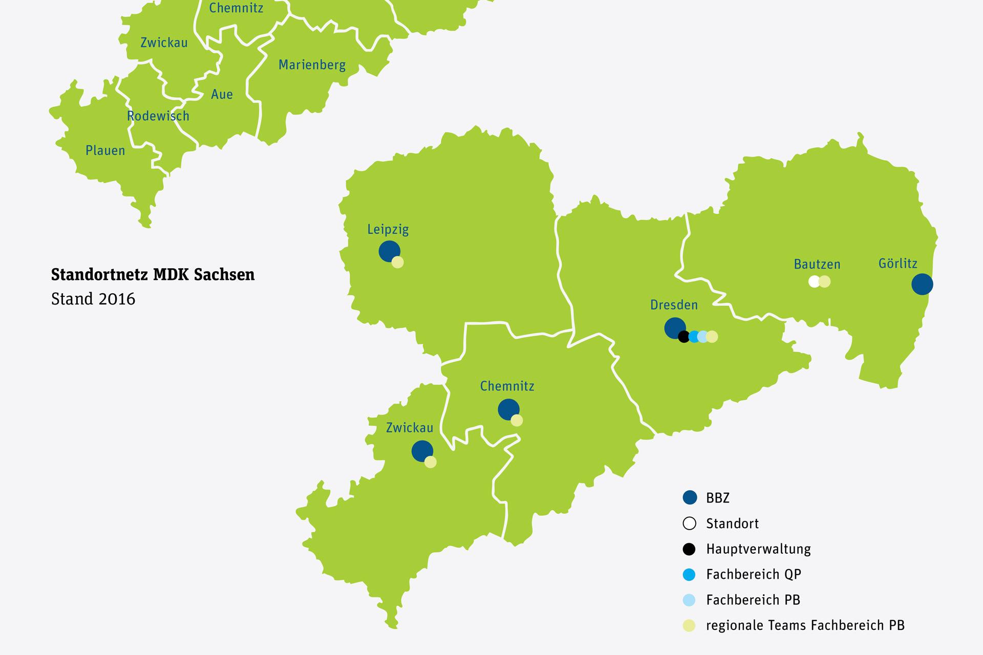 Kartenübersicht Standorte des MDK Sachsen
