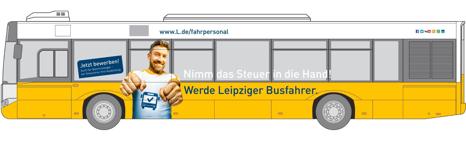 Simulation Bus-Werbung Busfahrer