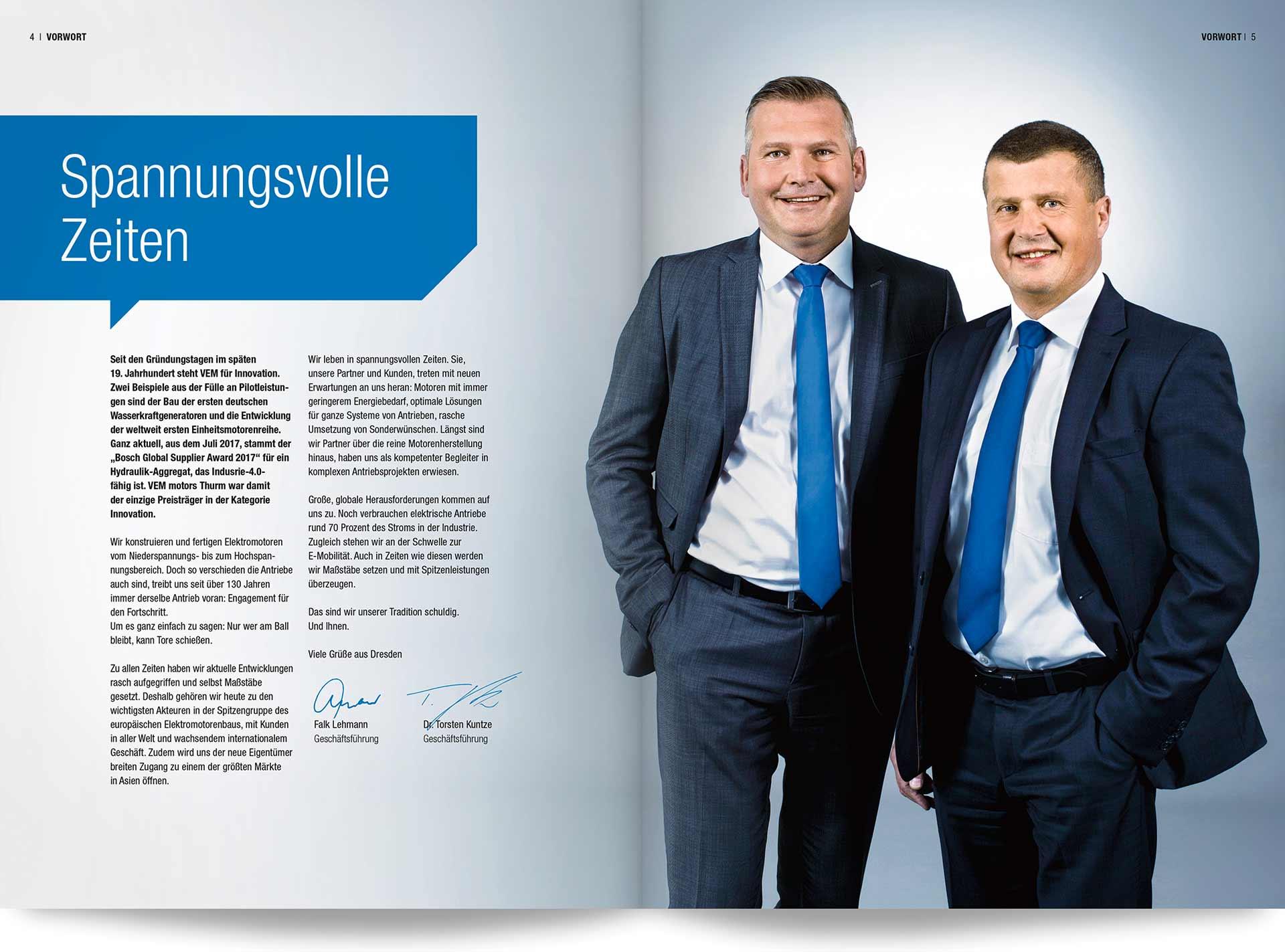 VEM Imagebroschüre Vorwort der Geshcäftsführer Herr Lehmann und Dr. Kuntze