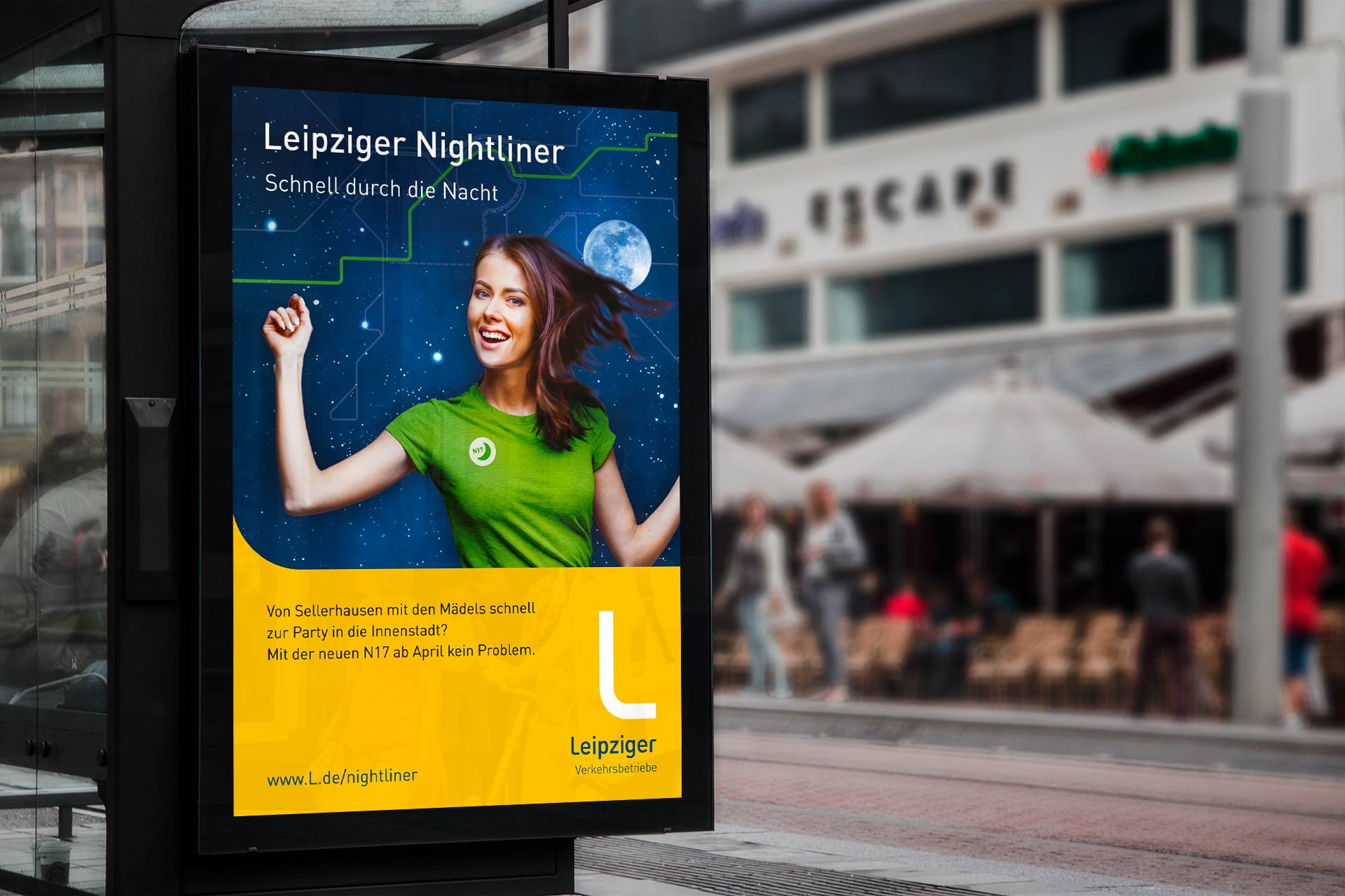 Plakatmotiv Leipziger Nightliner mit Frau