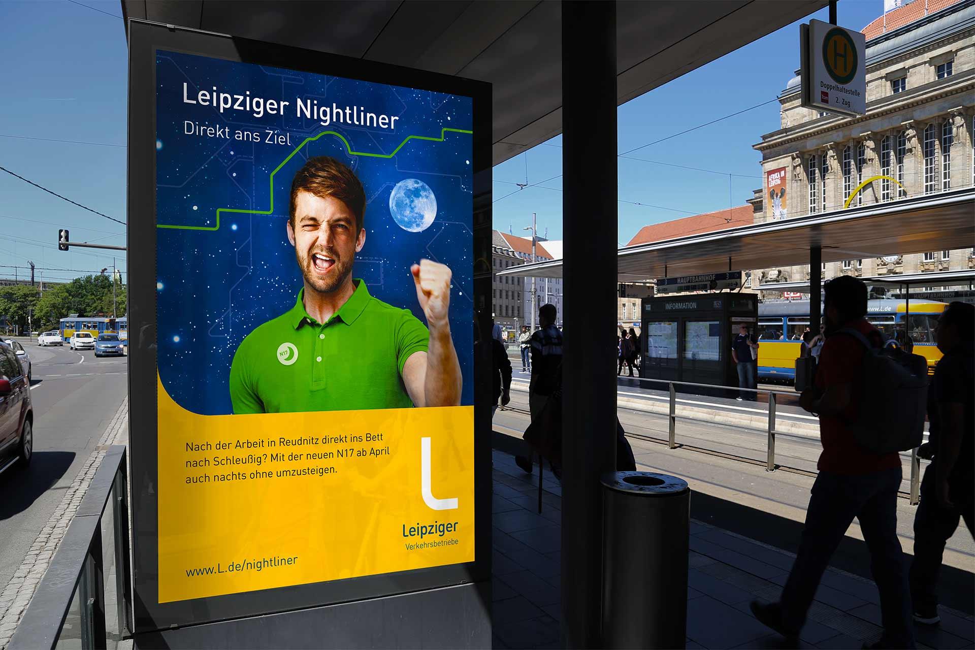 Plakatmotiv Leipziger Nightliner Mann