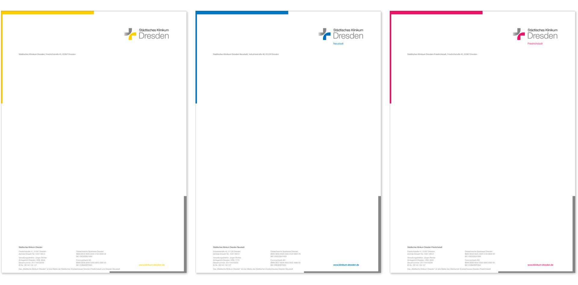Logoentwicklung Dachmarke und Einzelmarken Kinikum und Gestaltung der Briefbögen