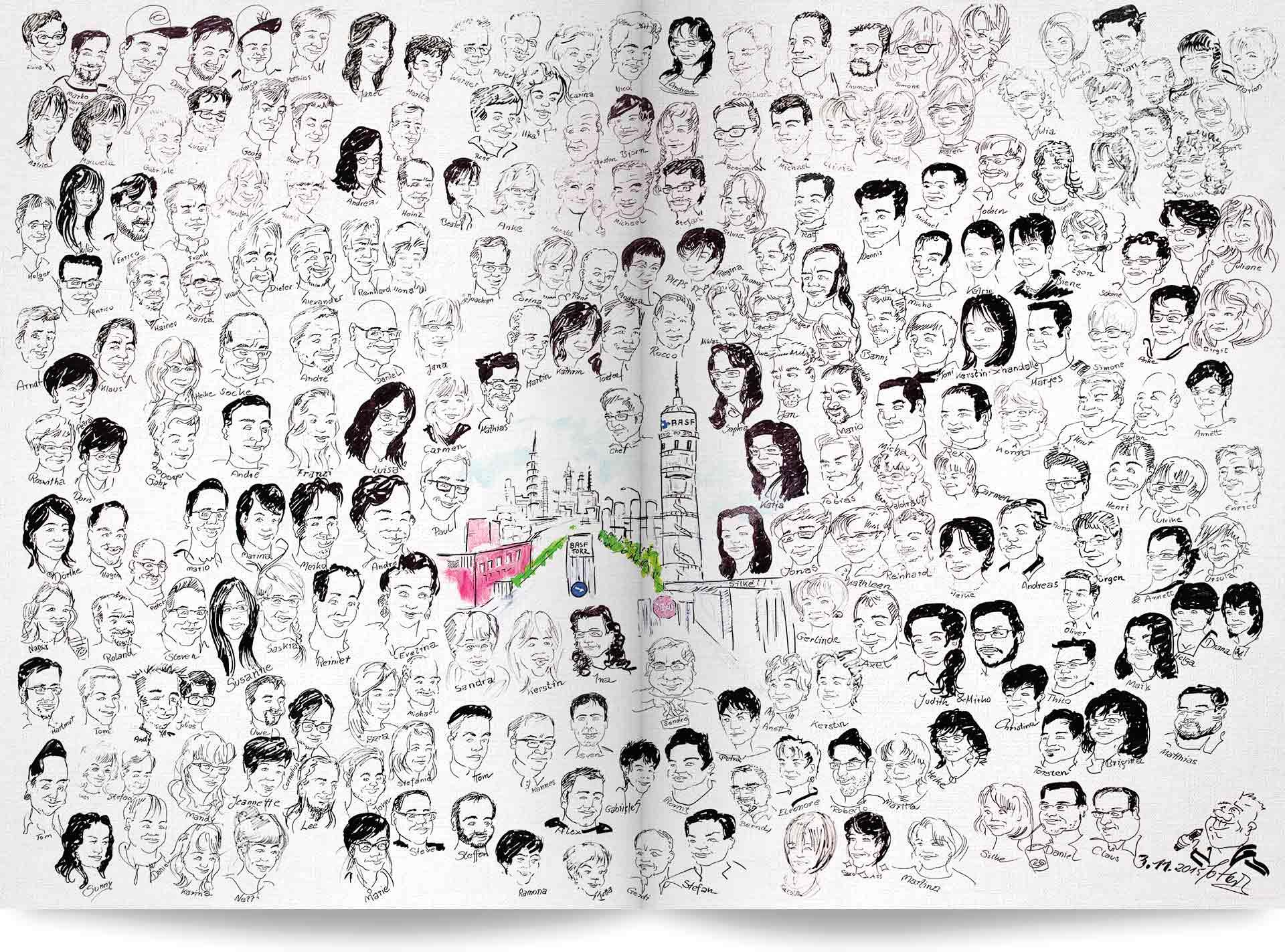 Mitarbeiterzeitung Überblicksseite mit Karikaturen der Mitarbeiter