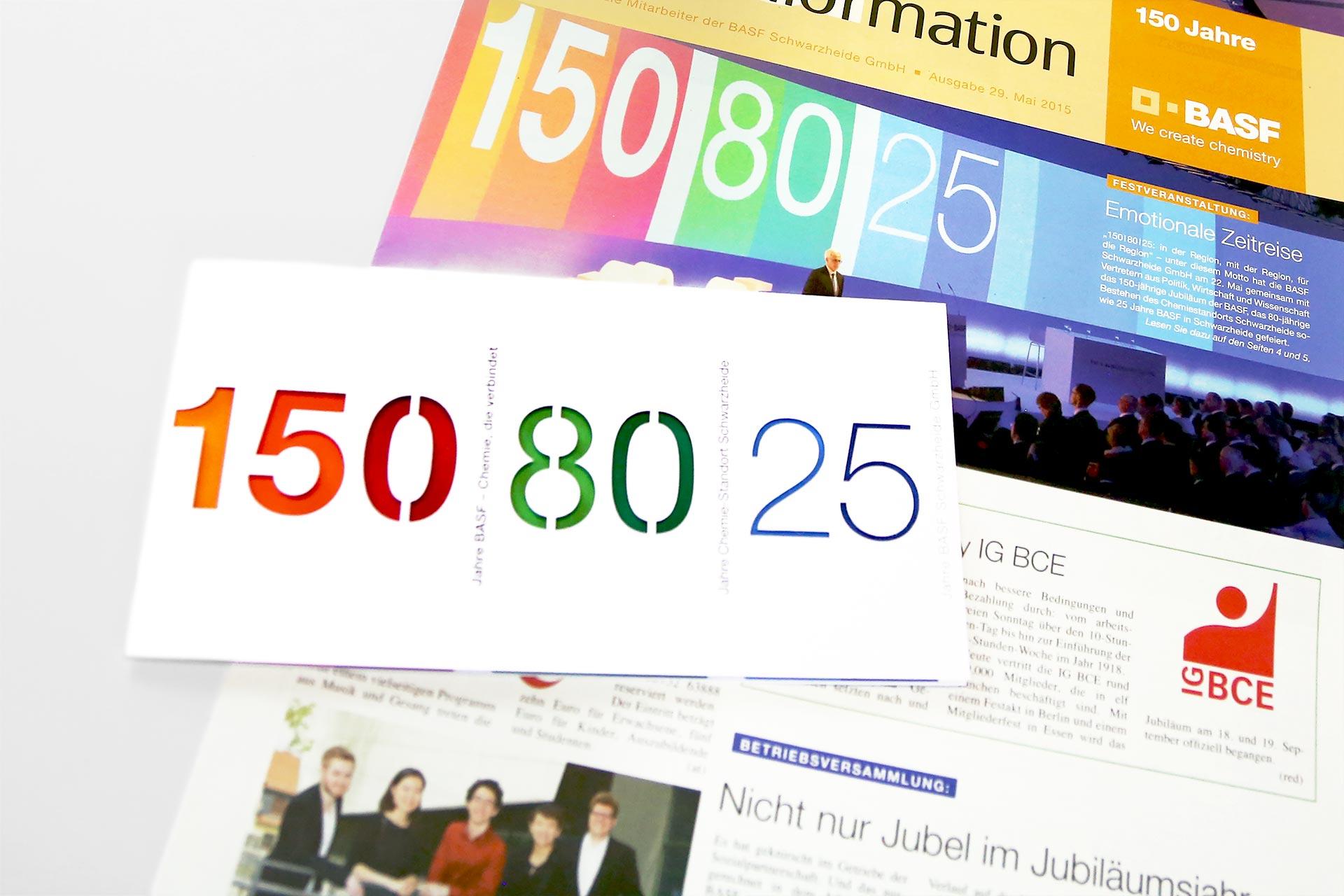 Titel Mitarbeiterzeitung und Jubiläumseinladung
