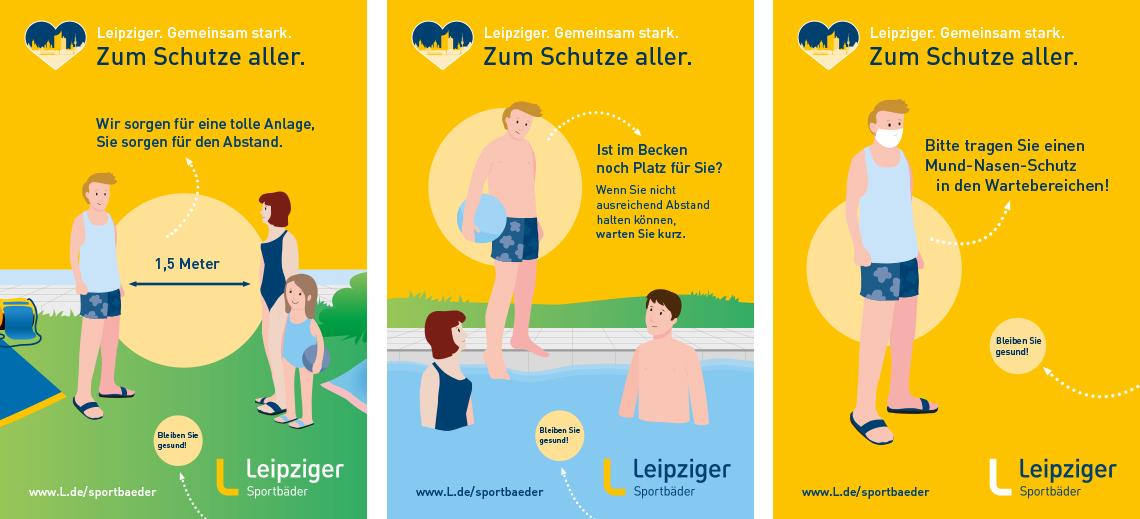 Plakate zum Verhalten in Freibädern während der Corona-Phase