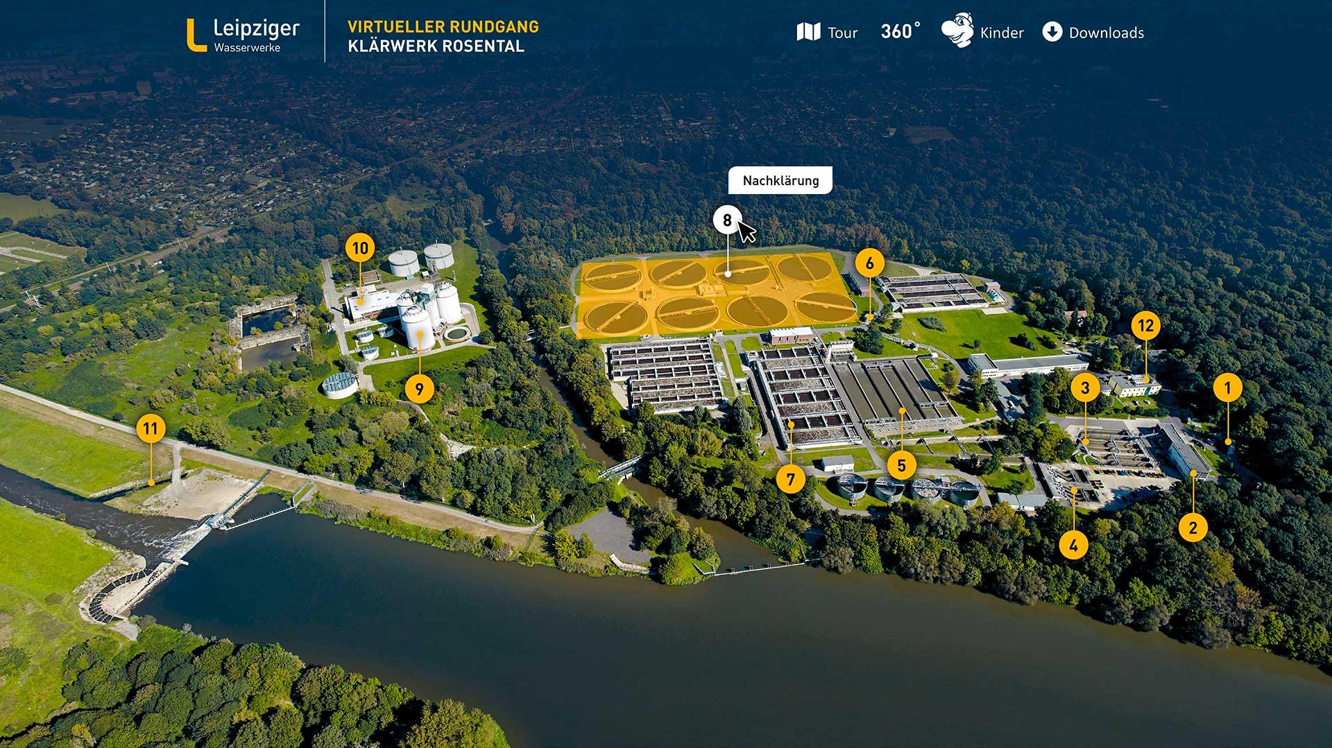 Virtueller Rundgang Navigationskarte Klärwerk Rosental