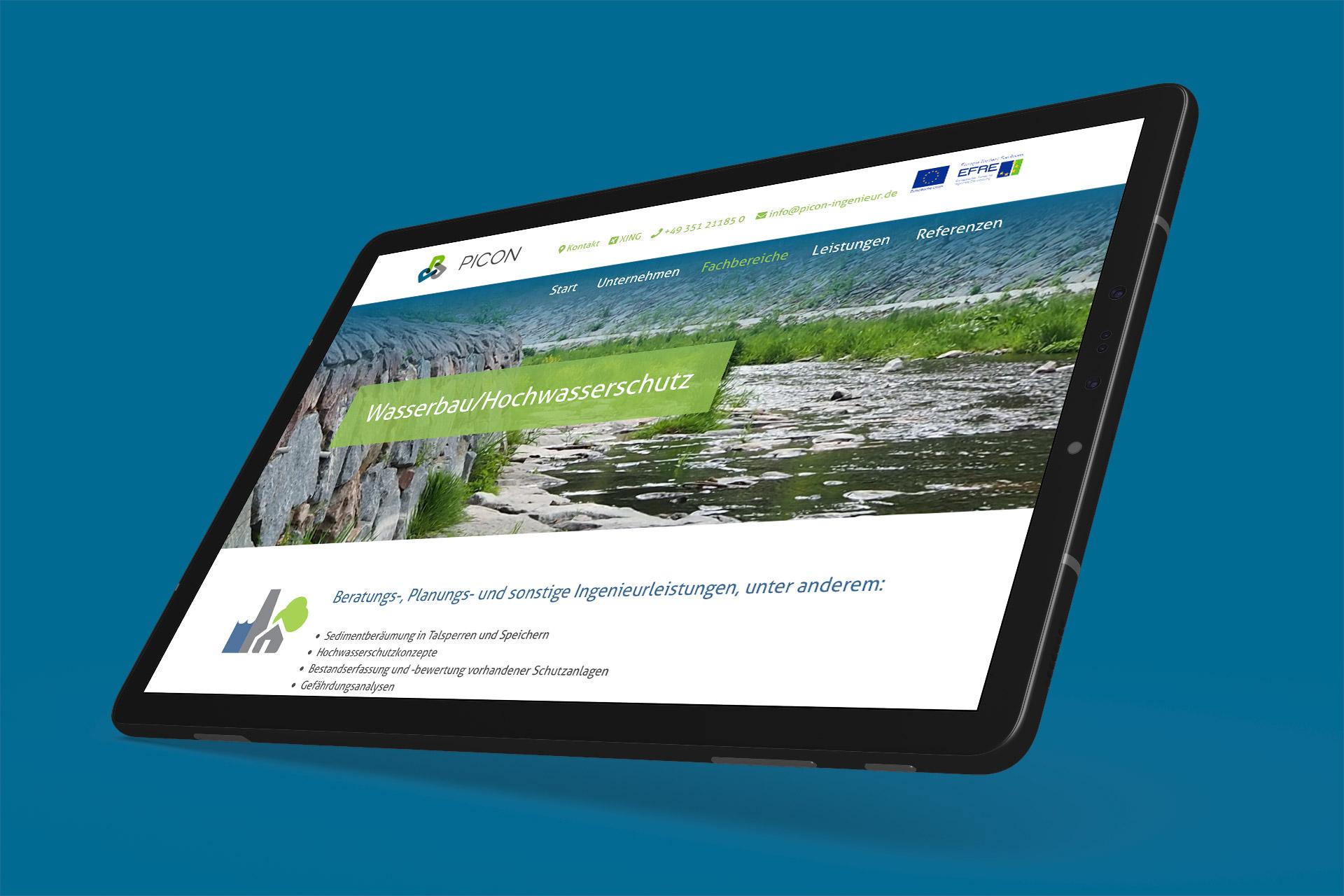 Visualisierung Picon-Webseite Tabletansicht