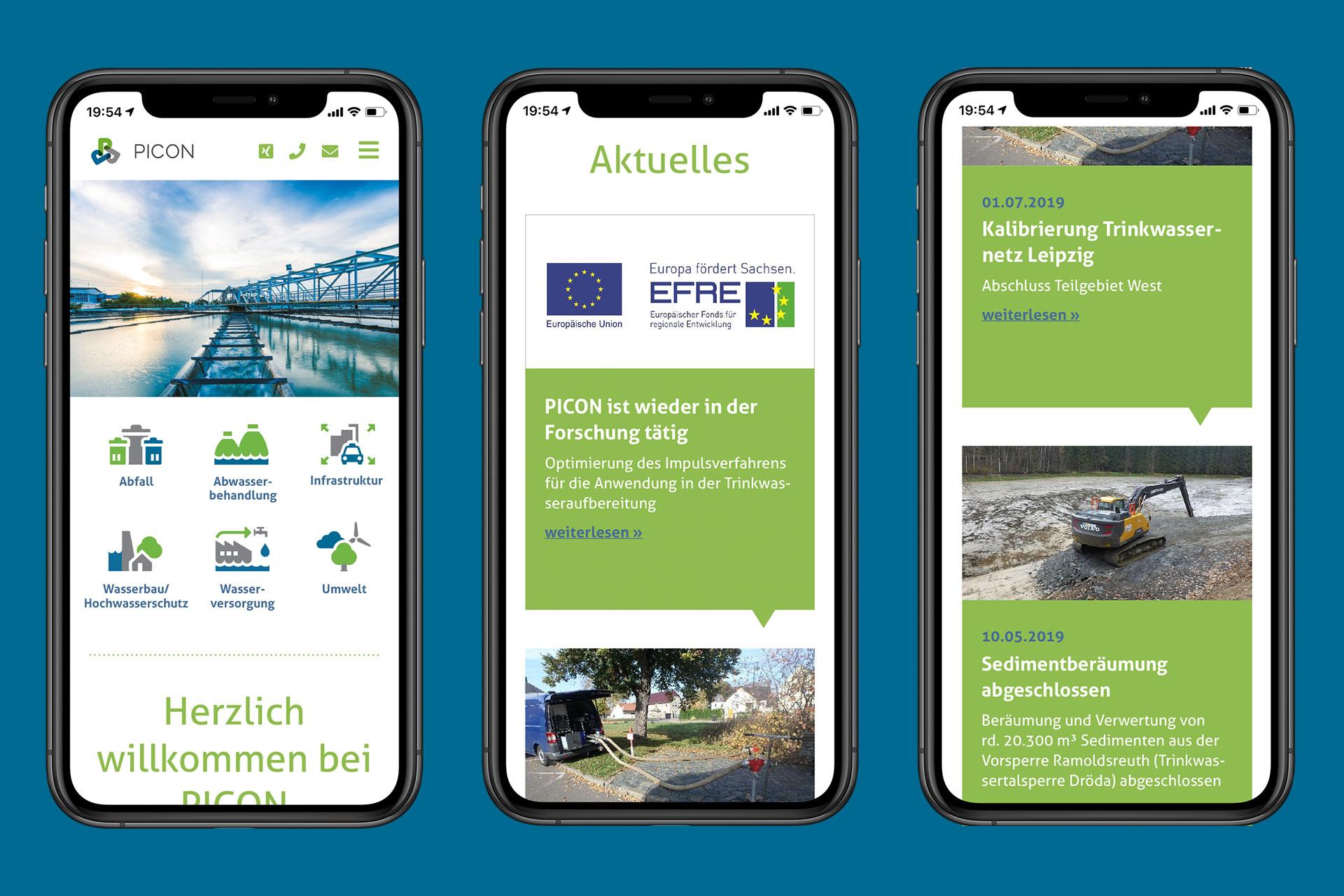 Visualisierung Picon-Webseite Smartphoneansichtent