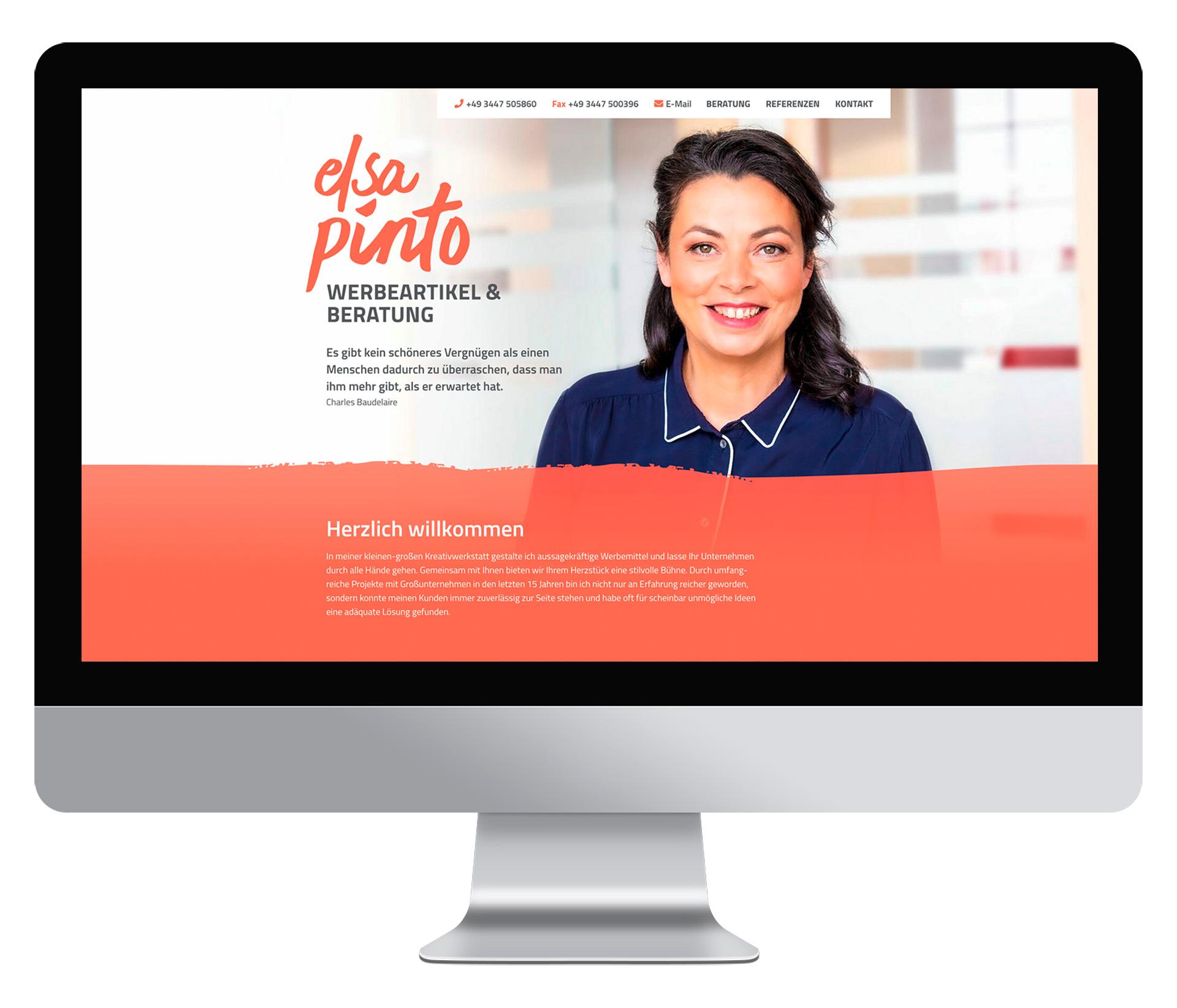 Webdesign Elsa Pinto Desktop-Ansicht