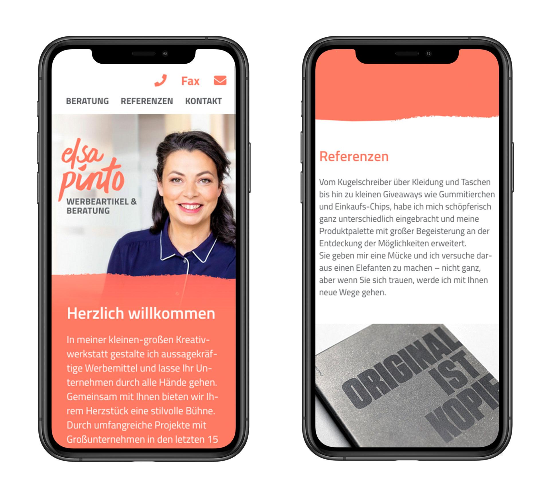 Webdesign Elsa Pinto Smartphone-Ansicht