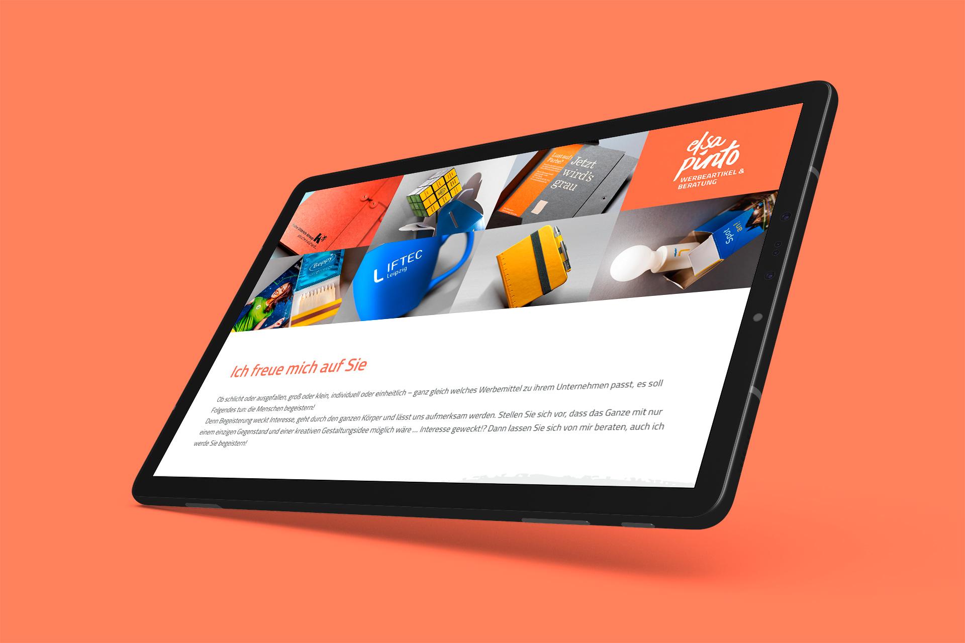 Webseite Elsa Pinto Tablet-Ansicht