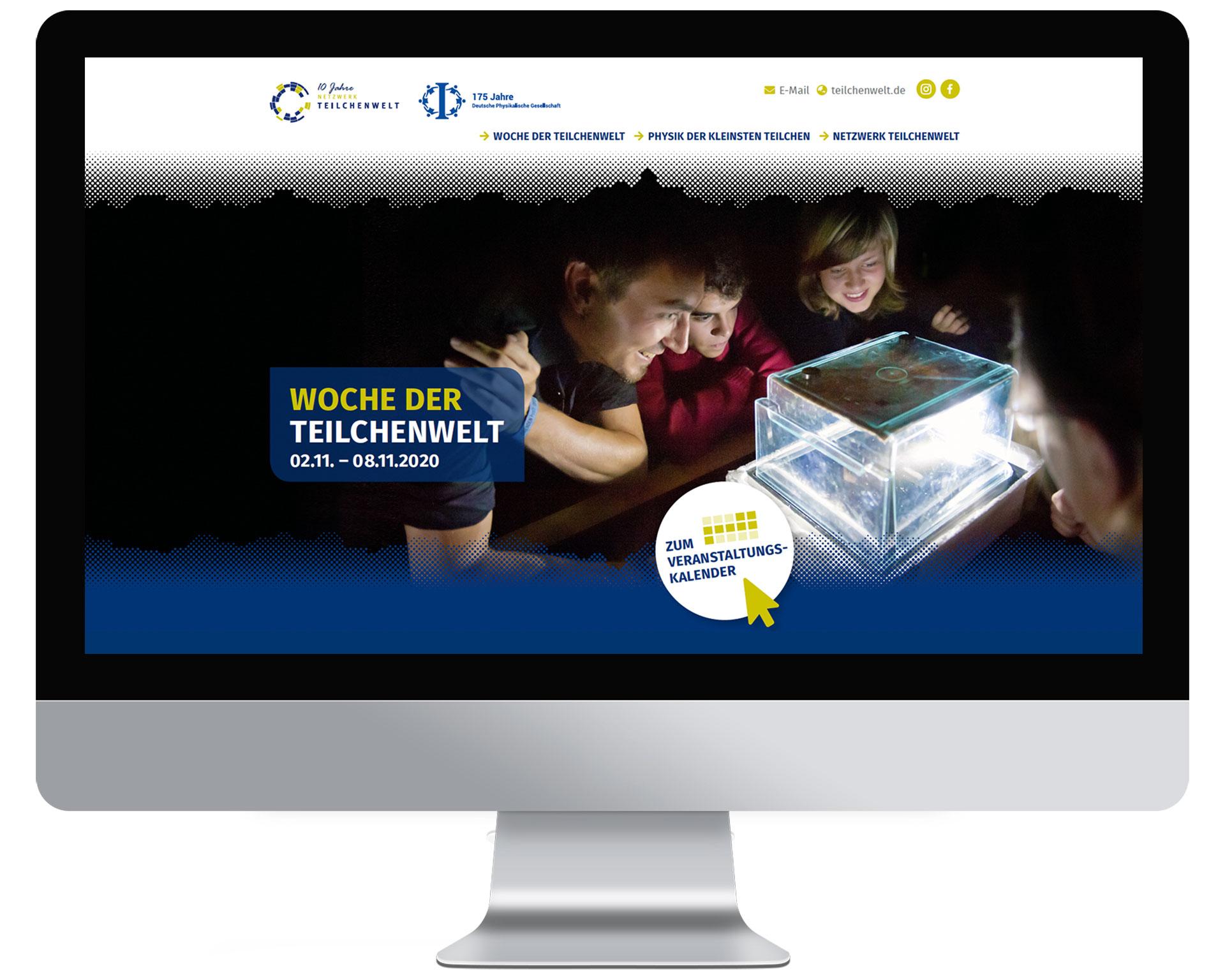 Desktop-Ansicht der Webseite Woche-der-Teilchenwelt